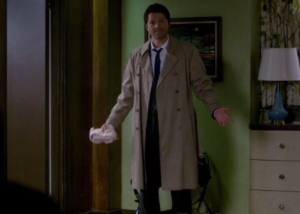 Castiel showing off his clean suit