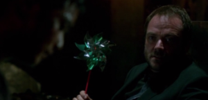 Kevin and Crowley, holding a pinwheel