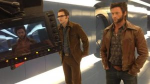 Wolverine and young Hank in behind-the-scenes photo