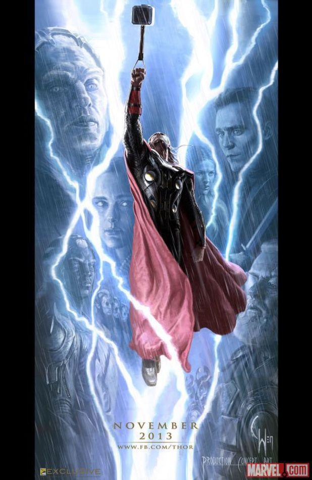Thor The Dark World comic-con poster featuring Thor floating in air with his hammer among the floating heads of other characters