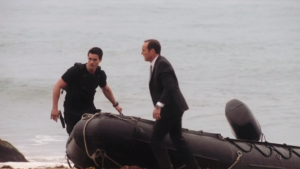 Agents of SHIELD, s1 ep03--Coulson and Ward dragging boat out of water