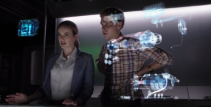 agents of shield, s1 ep02--Simmons and Fitz in the lab looking at holograms
