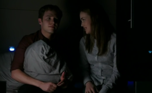 Agents of SHIELD, s1 ep06--Fitz and Simmons talking while Fitz clutches pillow