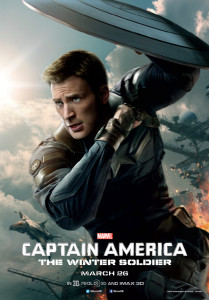 Captain America The Winter Soldier poster with Steve Rogers ducking under shield