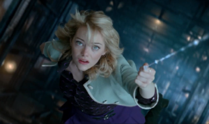 The Amazing Spider-Man 2--Gwen Stacy hanging from web in clock tower