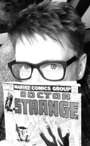 Scott Derrickson holding Doctor Strange comic