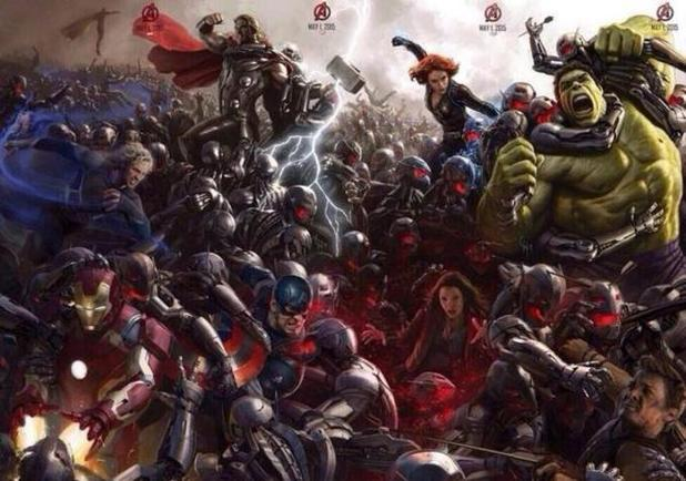 Avengers Age of Ultron poster showing the avengers fighting Ultron's army