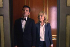 Leslie and Ben in the elevator