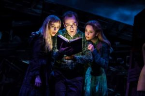 Sophia Anne Caruso, Kerry Butler, and Rob McClure as Lydia Deetz, Barbara, and Adam Maitland (Photo by Matthew Murphy)
